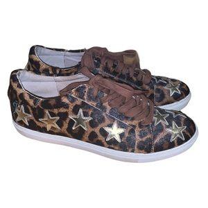 J/SLIDES NYC Leopard Print & Star Sneaker 8.5
